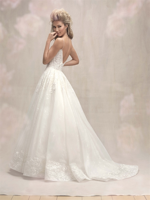 Vneck Spaghetti Strap Lace Detailed Ball Gown Wedding Dress  Kleinfeld Bridal