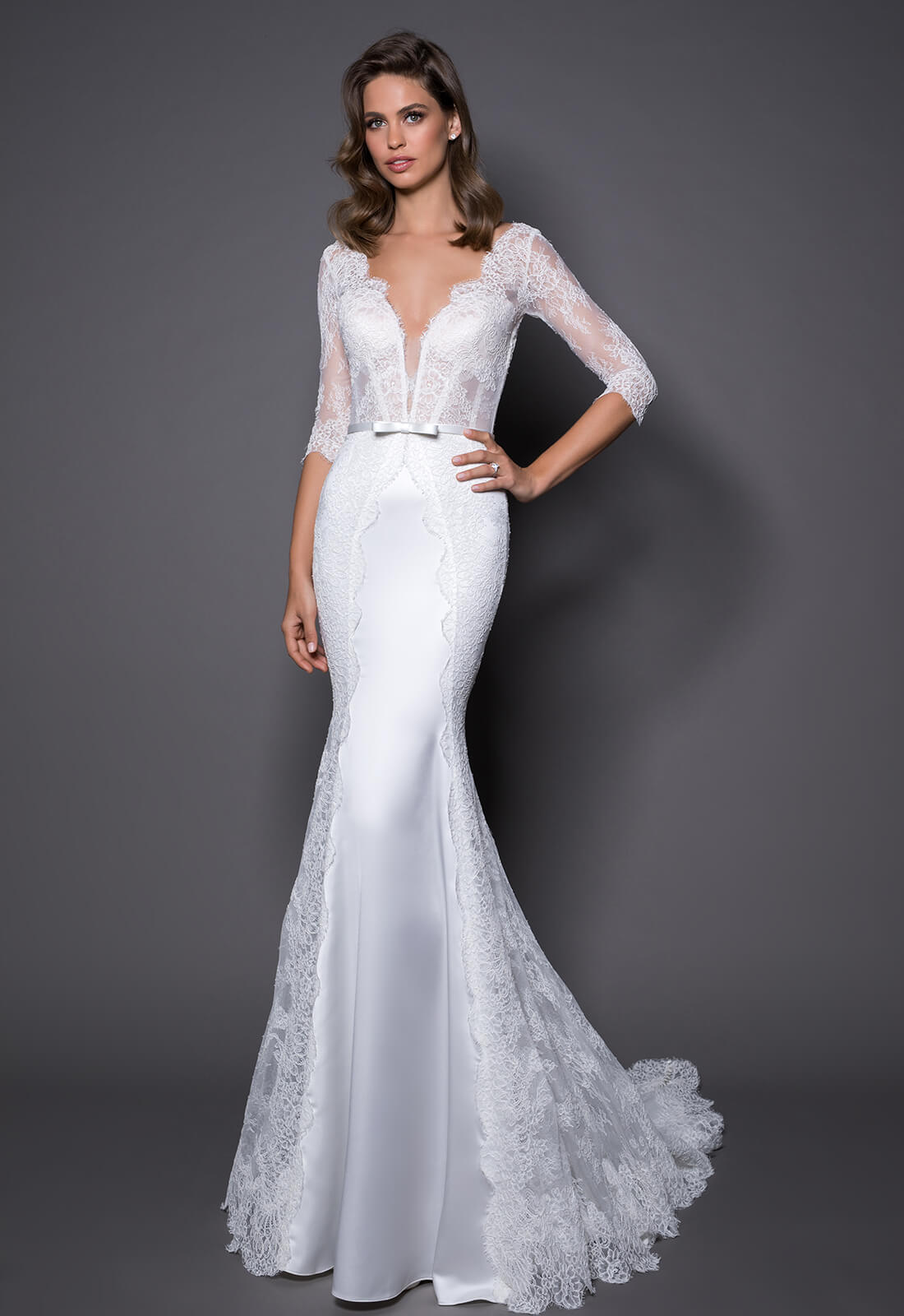 3 4 Sleeve Lace And Satin Wedding Dress With Covered