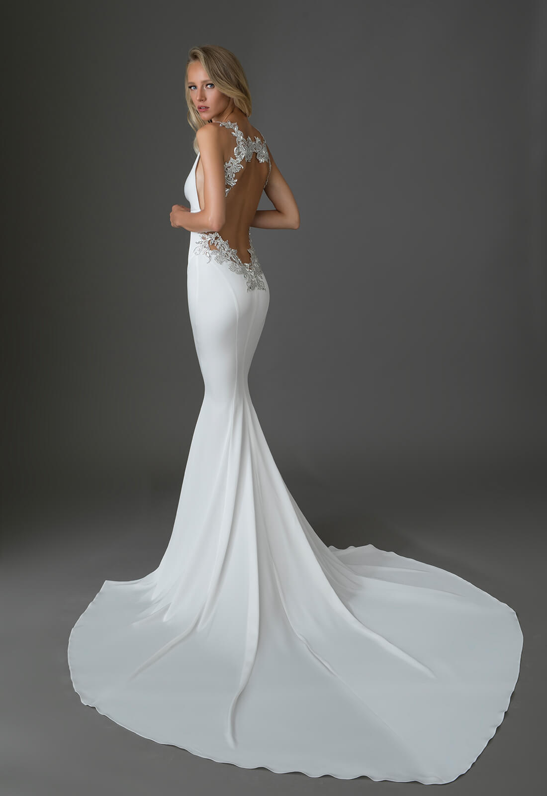 Crepe Gown With Vneck And Embellished Low Keyhole Back