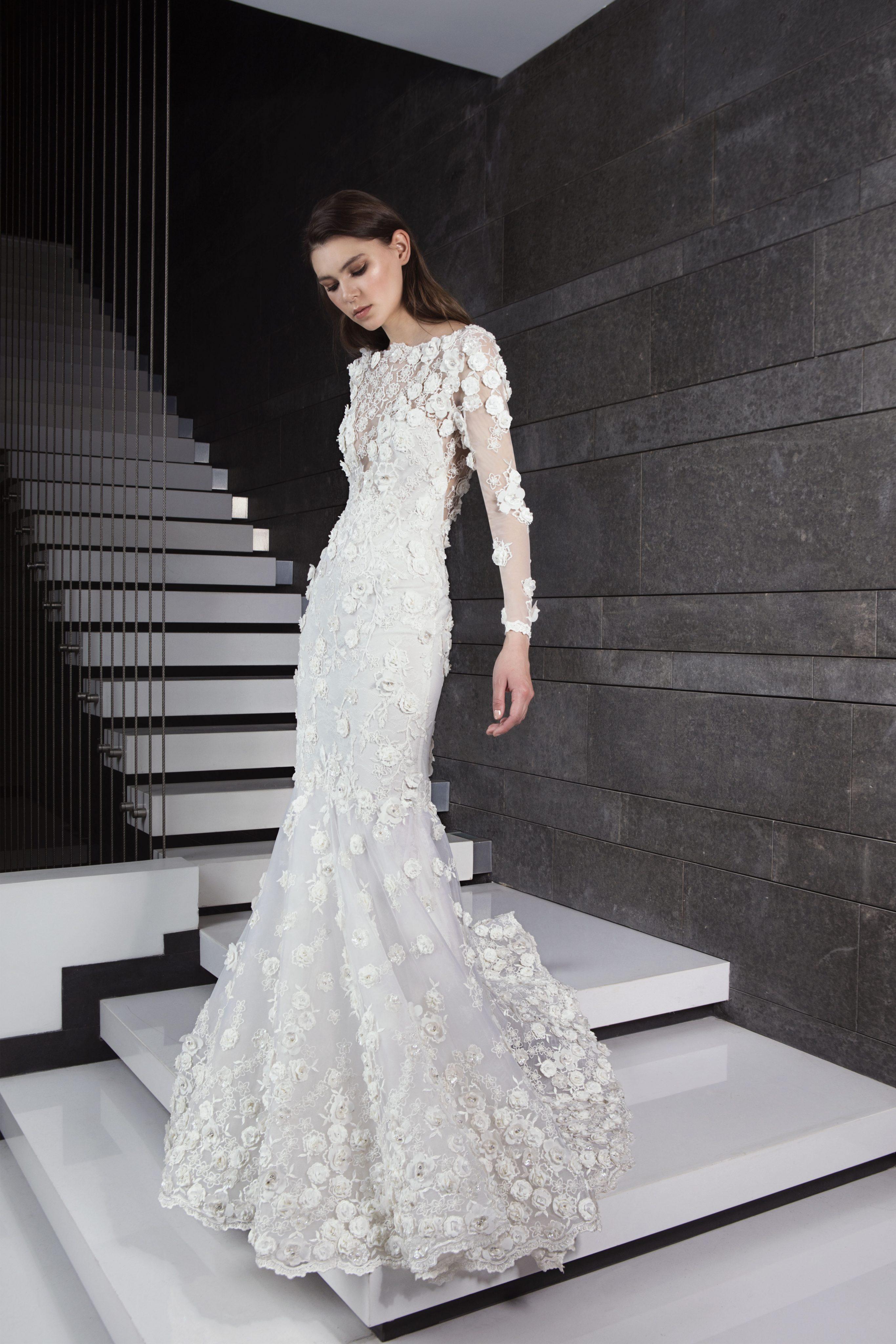 Long Sleeve 3D Floral Applique Mermaid Wedding Dress