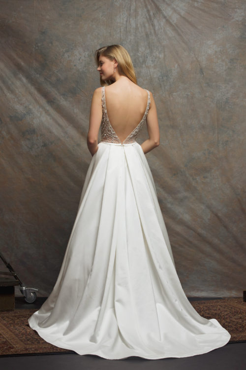 Beaded Bodice Satin Skirt A Line Wedding Dress Kleinfeld