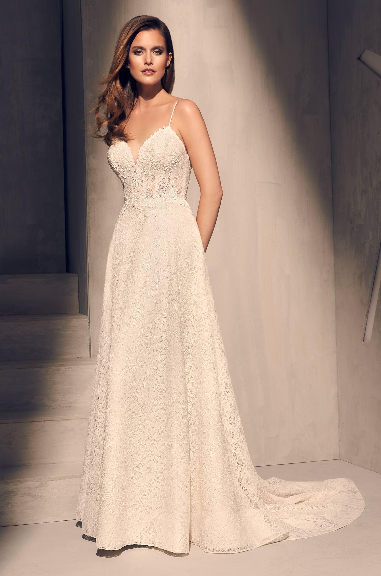 Spaghetti Strap Lace Bodice Aline Wedding Dress