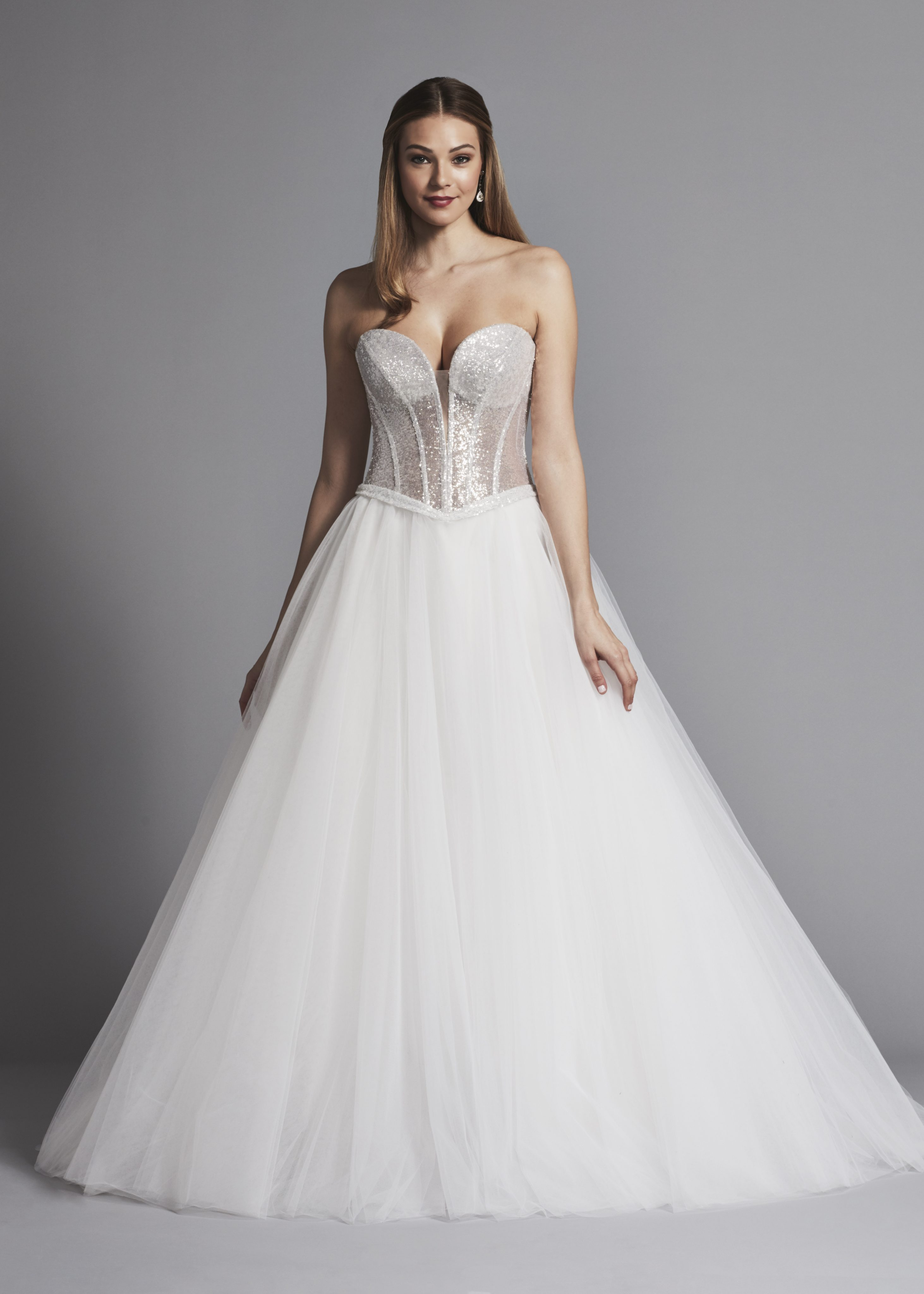 Glitter Strapless Ball Gown Wedding Dress With Corset Bodice And Flower Applique  Kleinfeld Bridal