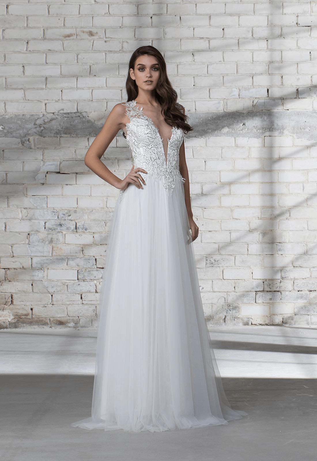 Sleeveless Aline Tulle Skirt With Corset Bodice Wedding