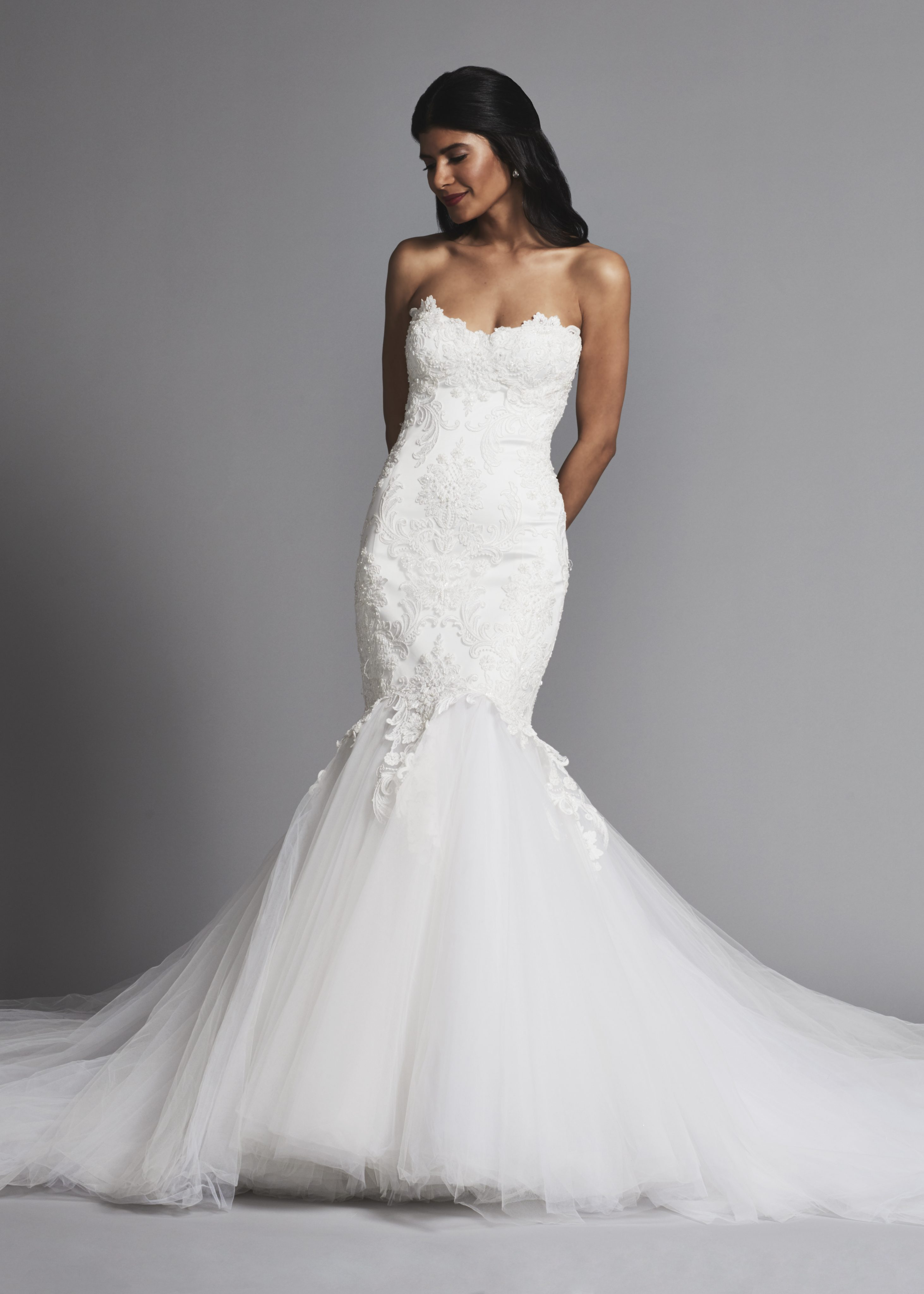 Romantic Lace Mermaid Wedding Dress With Full Tulle Skirt  Kleinfeld Bridal