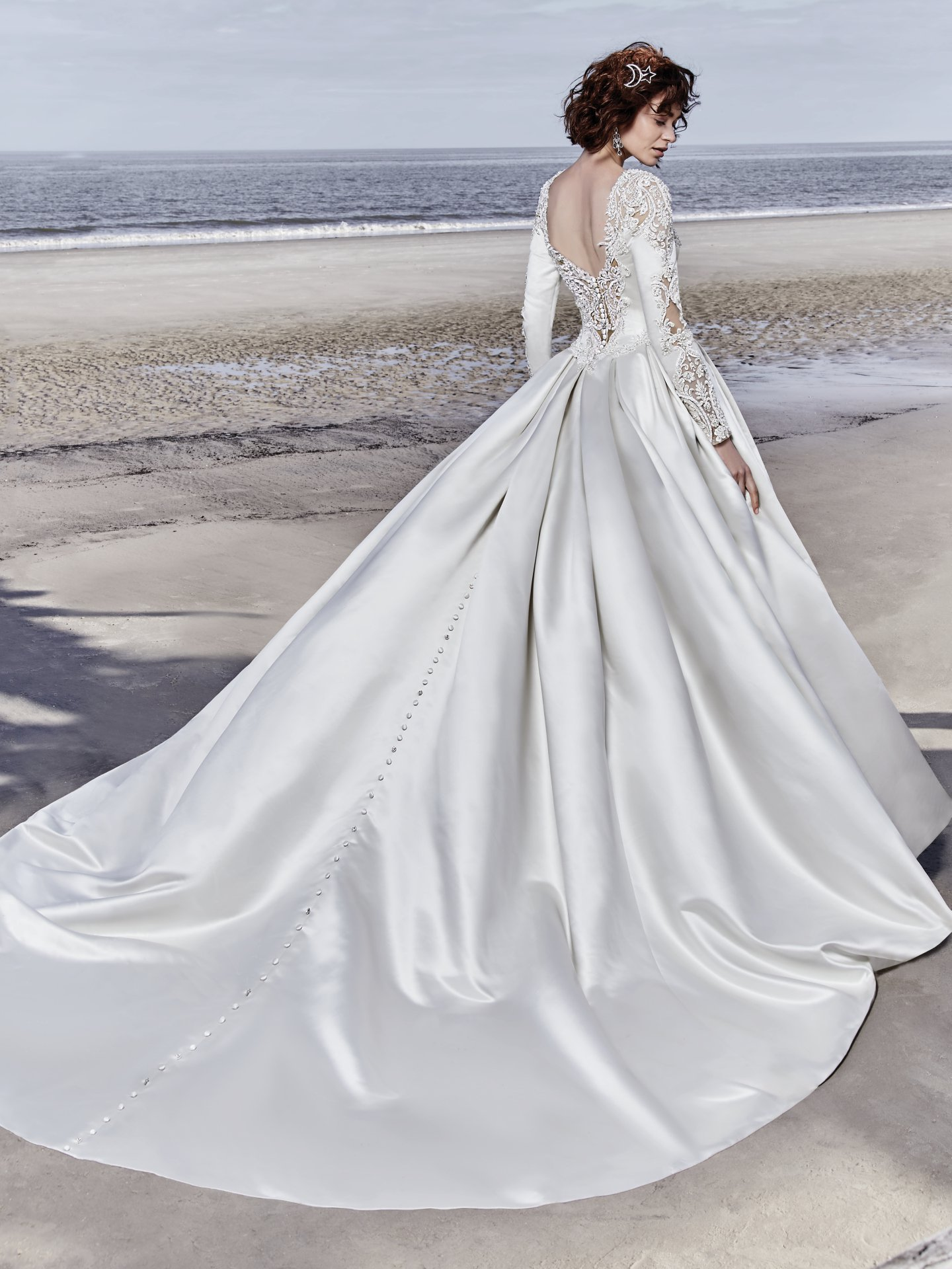 Long Sleeved Vneck Crystaled Lace And Satin Ball Gown Wedding Dress  Kleinfeld Bridal