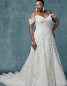 line cold shoulder sleeves tulle wedding dress by maggie sottero also category plus size kleinfeld bridal rh kleinfeldbridal