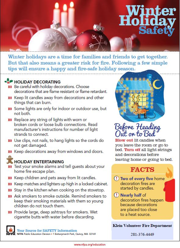 Winter Holiday Safety Tips Klein Volunteer Fire Department