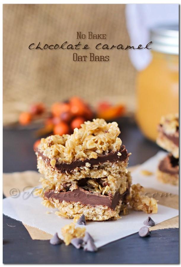 No Bake Chocolate Caramel Oat Bars
