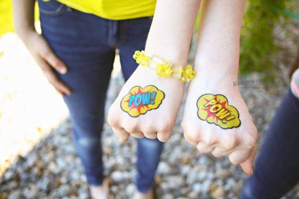Superhero Sandwich is a fun meal for kids with these FREE printable sandwich toppers & matching temporary tattoos. Make your kid's summer adventurous!