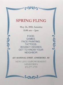 New Life Empowerment Ministries to Host Spring Fling