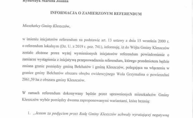 Powiadomienie o zamiarze wystąpienia z inicjatywą przeprowadzenia referendum strona 1