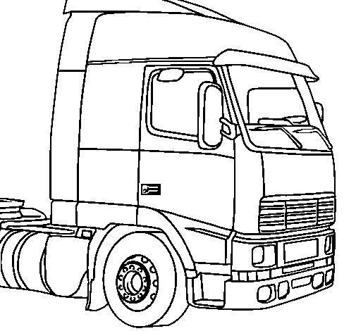 Kleurplaat Vrachtwagen Met Oplegger • Kidkleurplaat.nl