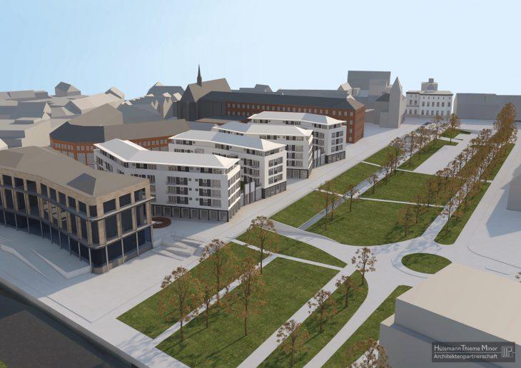 Viel Bau, wenig Platz: Blick von oben auf den Minoritenplatz (Visualisierung: Hülsmann & Thieme)
