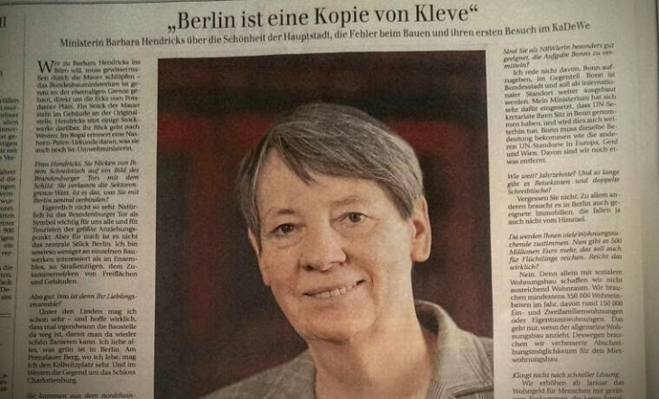 Kleve, ca. 36 Punkt groß, in der Berliner Zeitung