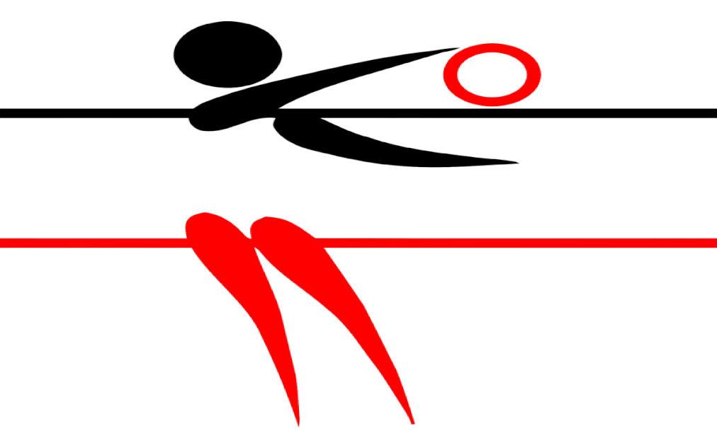 Ein schwarz-rotes Piktogramm einer Volleyball spielenden Person, welche den Ball übers Netz schlägt.
