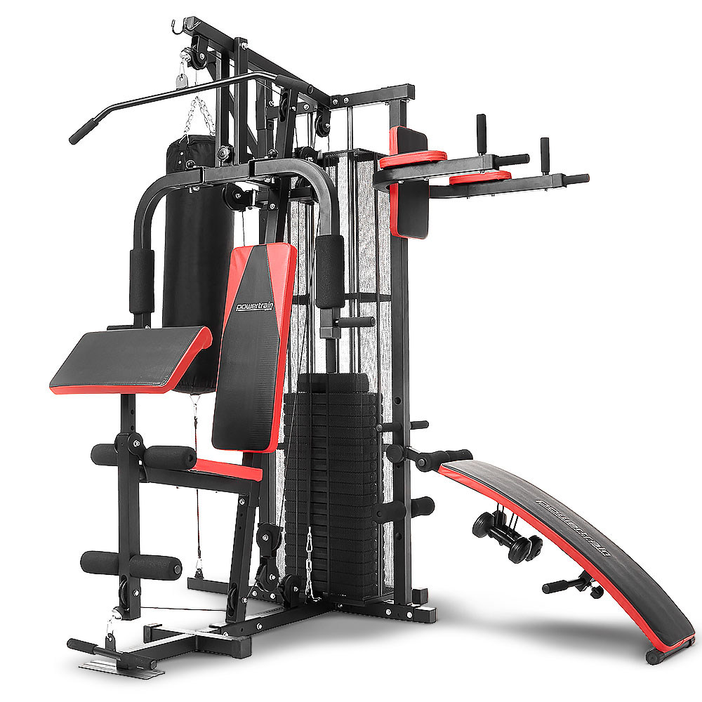 Powertrain MultiStation Home Gym  with Punching Bag