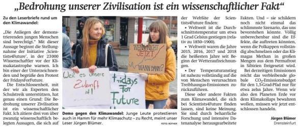 Leserbrief von Jürgen Blümer, Quelle WA