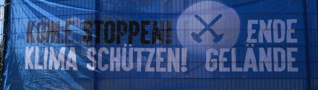 """Demo EndeGelände, Datteln 4, 17.05.2020 Transparent """"Kohle stoppen! Klima schützen! - Ende Gelände"""