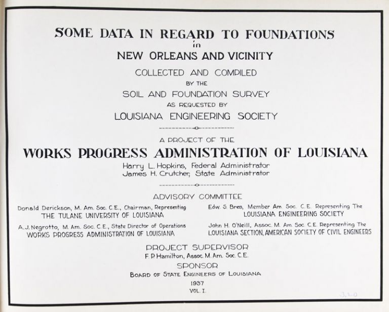 Some Data in Regard to Foundations in New Orleans and