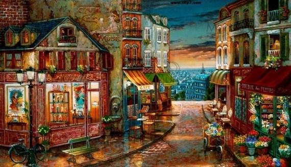 Pintura de callejon rustico colorido