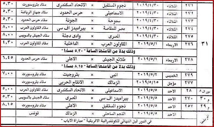 لجنة المسابقات ت علن مواعيد مباريات الأسبوع 31 فى الدوري المصري