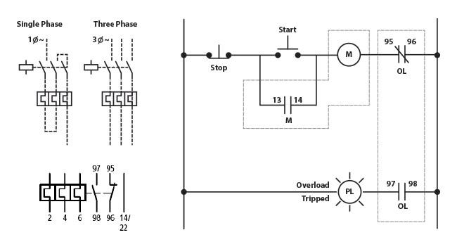 120 240 motor wiring diagram rocker switch eaton xtob2p4bc1 thermal overload relay