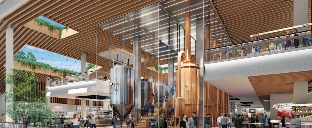 Construction of food hall brew pub at new shopping centre development