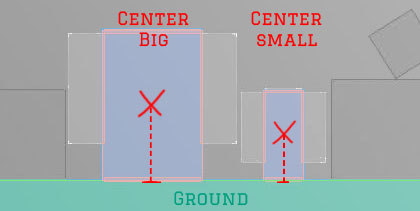 Hitboxes of the Big and Small Character in Mercury Shift 2D showing the center and there distance to the ground.