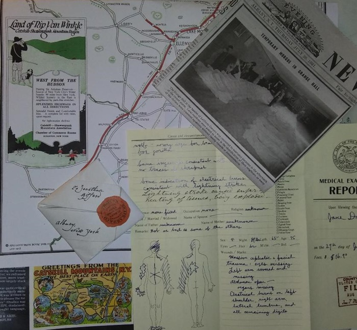 Article, letter, map, and coroner's report