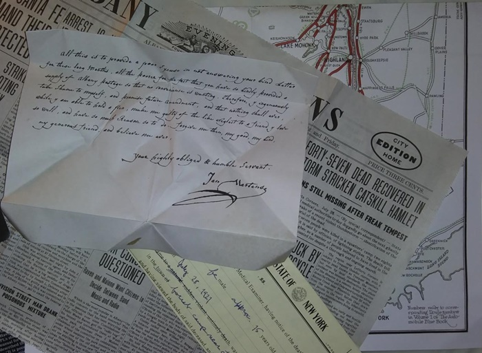 Letter unfolded, article and report