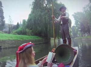 The Doctor and Romana punting on the Cam