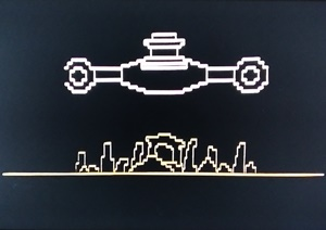 Computer graphic of the spaceship's location above the standing stones
