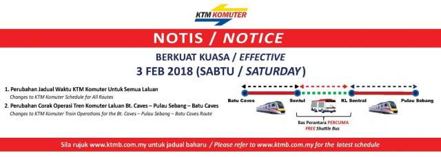notice changing batu caves from kl sentral ktm route