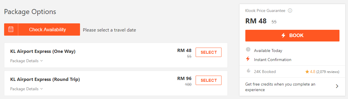 KLIA Ekspres Discount Package via KLOOK