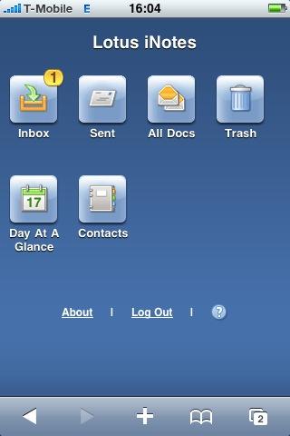 Lotus iNotes on iPhone
