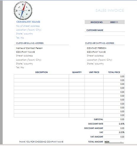 data entry example two - invoice template