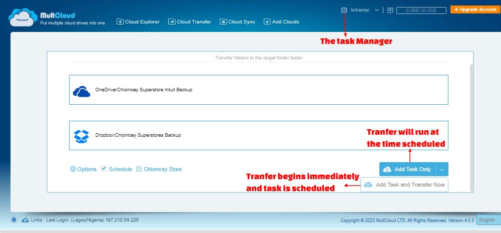 Multcloud - transfer file