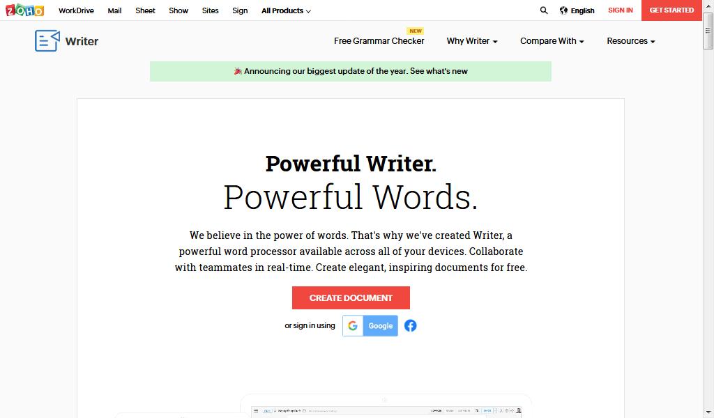 word processor - zoho