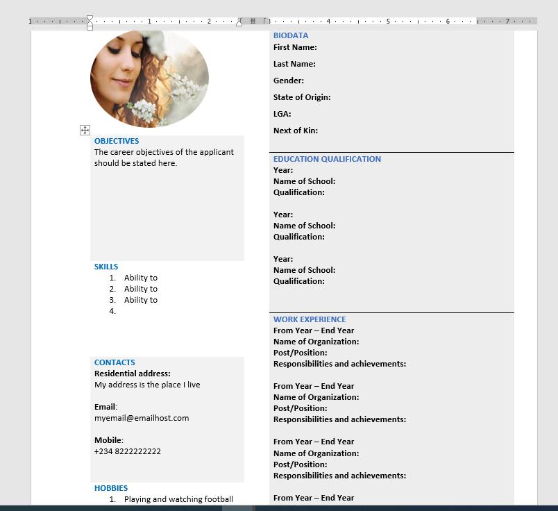 create a resume document - final