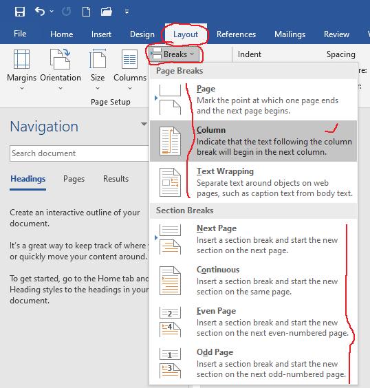 microsoft word tutorial - breaks