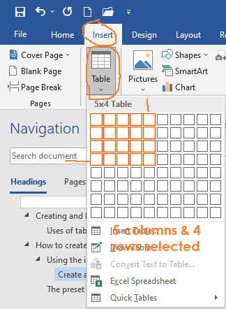 creating tables in word