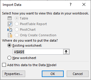 select location for imported data