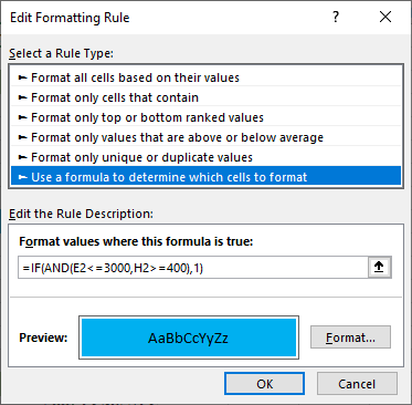consitional formatting in excel formula