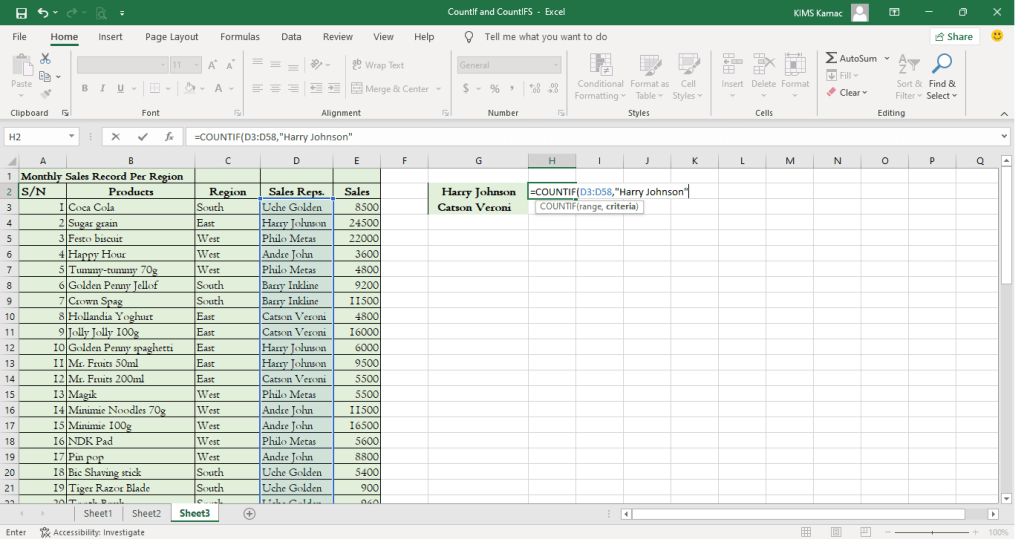 countif function in excel