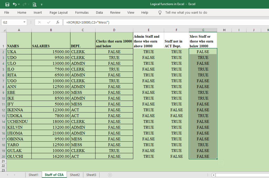 what are logical functions in Excel: AND, OR, NOT, and XOR