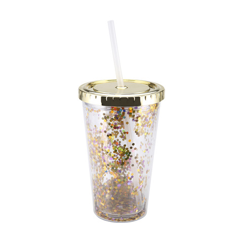 Glitter Cup With Straw Kmart