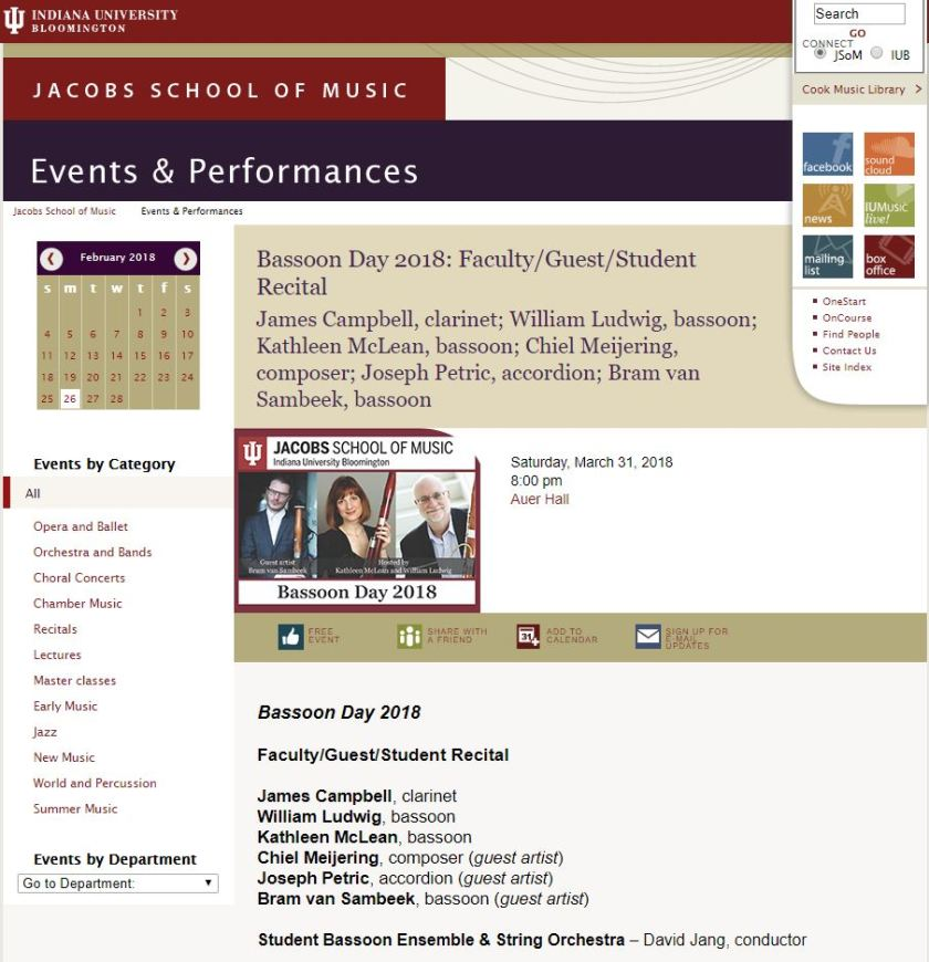 Bassoon Day 2018: Faculty/Guest/Student Recital