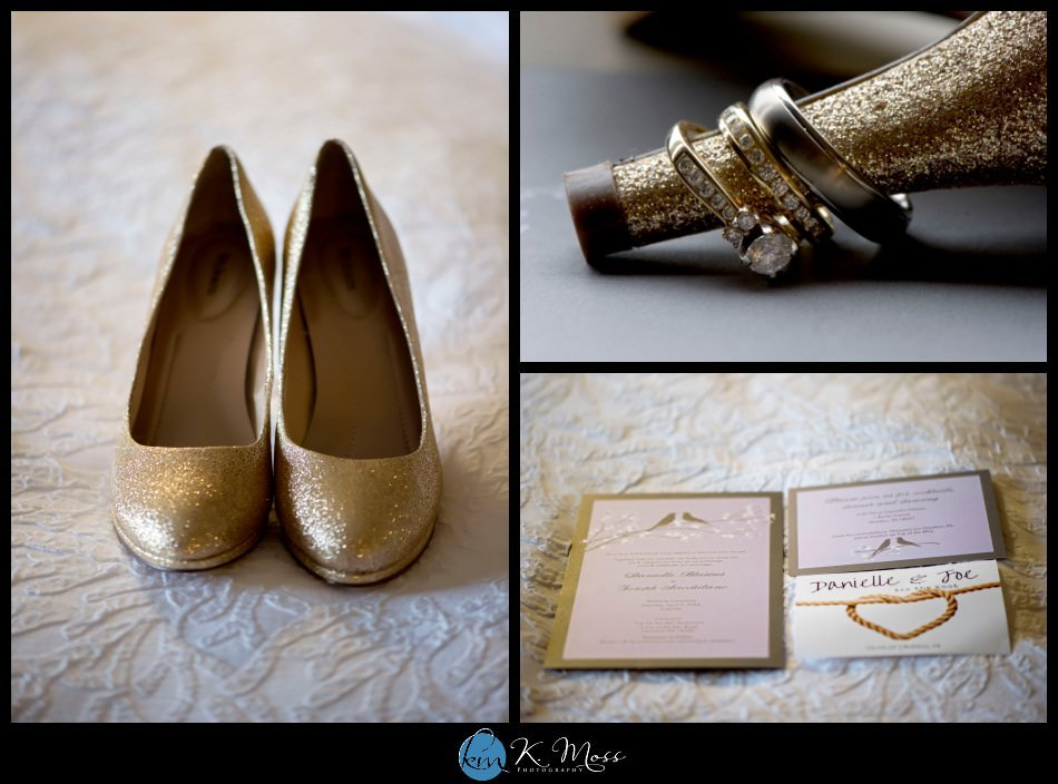 reading pa wedding photographer - berks county wedding photographer - wedding photography in berks county - capriottis mcadoo wedding photographer - bride wedding shoes gold - wedding invitations gold - wedding rings gold