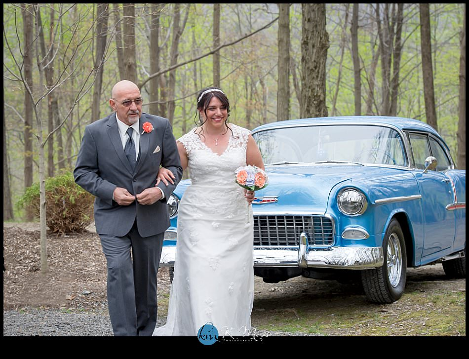 sincerity bridal-blackhorsevideography-bride walking down aisle - classic car wedding - stroudsburg pa wedding photographer - spring wedding - april wedding